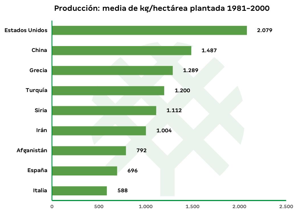 producción de pistacho por hectárea en el mundo-1